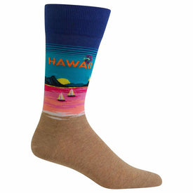 Hawaii Funny Words Mens Novelty Crew Socks