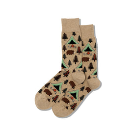 Bear Tent Funny Outdoors Mens Novelty Crew Socks