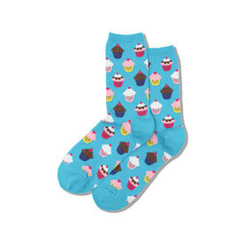 Cupcakes Funny Junk Food Womens Novelty Crew Socks