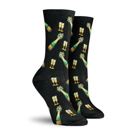 Champagne Bottles Funny Wedding Womens Novelty Crew Socks