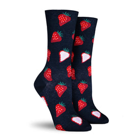 Strawberry Slices Funny Strawberries Womens Novelty Crew Socks