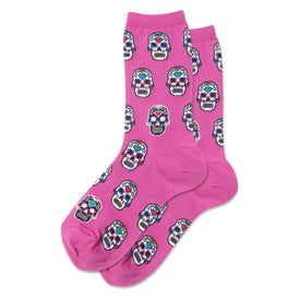 Sugar Skulls Funny Skulls Womens Novelty Crew Socks