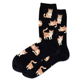Fuzzy Cat Funny Pets Womens Novelty Crew Socks