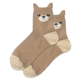 Fuzzy Teddy Bear Funny Wildlife Womens Novelty Ankle Socks