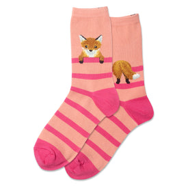 Fuzzy Fox Funny Wildlife Womens Novelty Crew Socks