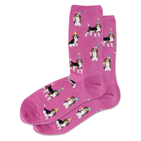 Party Beagle Funny Pets Womens Novelty Crew Socks