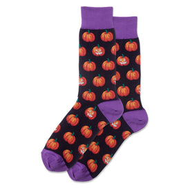 Glow In The Dark Pumpkins Funny Holiday Mens Novelty Crew Socks