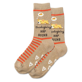 Pie Nap Dog Non Skid Funny Thanksgiving Womens Novelty Crew Socks