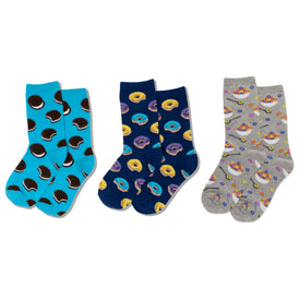 Sweets 3 Pack Funny Food & Drink Kids Novelty Crew Socks