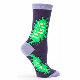 Kale Is On Everything Funny Words Womens Novelty Crew Socks