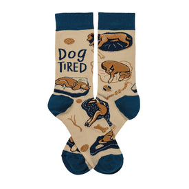Dog Tired Funny Words Unisex Novelty Crew Socks