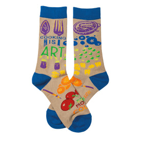 Cooking Is Art Funny Mothers Day Unisex Novelty Crew Socks