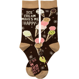 Ice Cream Makes Me Happy Funny Words Womens Novelty Crew Socks