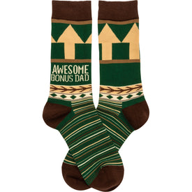 Awesome Bonus Dad Funny Words Mens Novelty Crew Socks