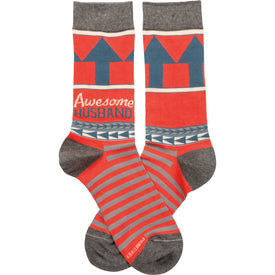 Awesome Husband Funny Words Mens Novelty Crew Socks