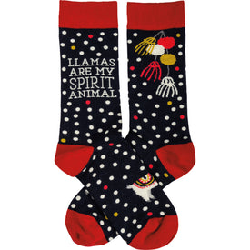 Llamas Are My Spirit Animal Funny Words Womens Novelty Crew Socks