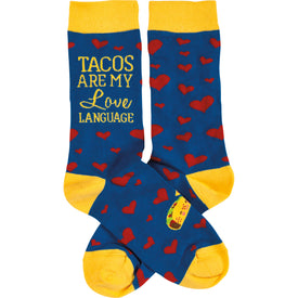 Tacos Are My Love Language Funny Words Womens Novelty Crew Socks