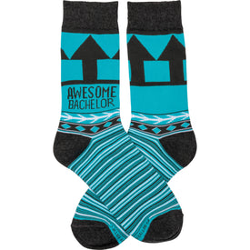 Awesome Bachelor Funny Words Mens Novelty Crew Socks