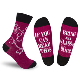 If You Can Read This, Bring Me A Glass Of Wine Funny Words Womens Novelty Crew Socks