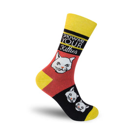 Show Me Your Kitties Funny Words Mens Novelty Crew Socks