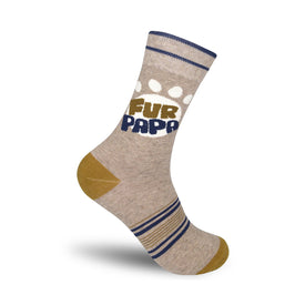 Fur Papa Funny Words Mens Novelty Crew Socks