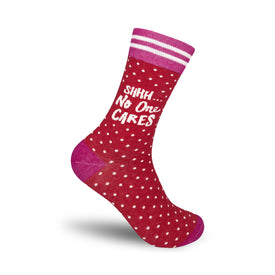 Shhh No One Cares Funny Words Womens Novelty Crew Socks