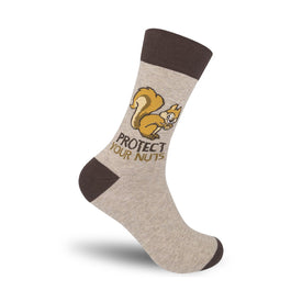 Protect Your Nuts Funny Words Mens Novelty Crew Socks