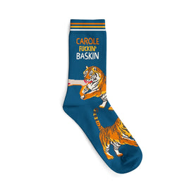 Tiger King Carole Fuckin' Baskin Funny Words Mens Novelty Crew Socks