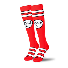Sock 1 Sock 2 Compression Funny Pop Culture Unisex Novelty Knee High Socks