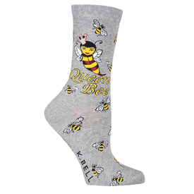 Queen Bee Funny Words Womens Novelty Crew Socks