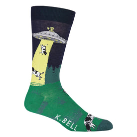 UFO Abduction Funny UFOs Mens Novelty Crew Socks