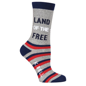 Land of the Free Funny Words Womens Novelty Crew Socks