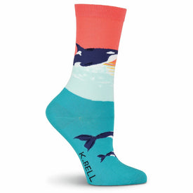 Orca Whale Funny Wildlife Womens Novelty Crew Socks