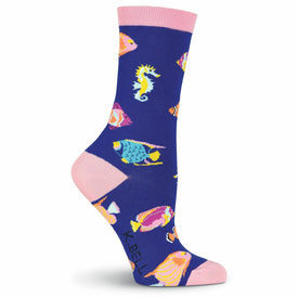 Tropical Fish Funny Summer Womens Novelty Crew Socks