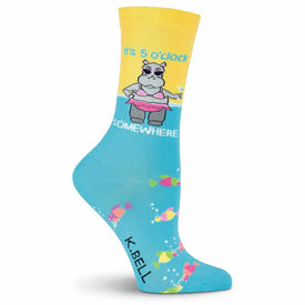 It's 5 O'clock Somewhere Funny Words Womens Novelty Crew Socks