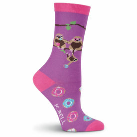 Sloths & Donuts Funny Wildlife Womens Novelty Crew Socks