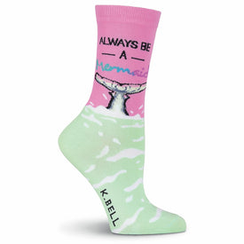 Always Be A Mermaid Funny Words Womens Novelty Crew Socks
