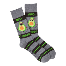 Avocardio Funny Workout Mens Novelty Crew Socks