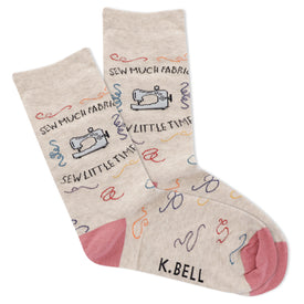 Sew Much Fabric! Women's Oatmeal Heather Funny Words Womens Novelty Crew Socks