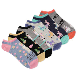Llama Queen 6 Pack Funny Words Womens Novelty Ankle Socks