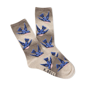 Blue Bird Funny Wildlife Womens Novelty Crew Socks