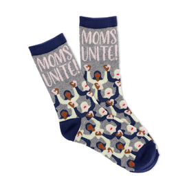 Moms Unite Funny Words Womens Novelty Crew Socks