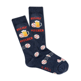 Relief Pitcher Funny Words Mens Novelty Crew Socks