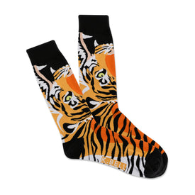 Open Mouth Tiger Funny Wildlife Mens Novelty Crew Socks