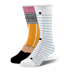 Pencil & Paper Kid's 7-10 Funny Students Kids Novelty Crew Socks