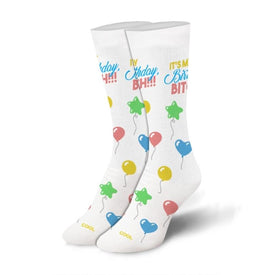 Birthday Bitch Funny Words Womens Novelty Crew Socks