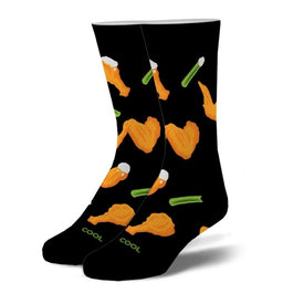 Buffalo Wings Funny Junk Food Unisex Novelty Crew Socks
