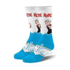 Popeye the Sailor Man Funny Pop Culture Unisex Novelty Crew Socks