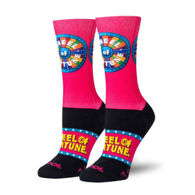 Wheel of Fortune Spin The Wheel Funny Pop Culture Womens Novelty Crew Socks