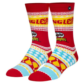 Pringles Ugly Sweater Funny Junk Food Unisex Novelty Crew Socks